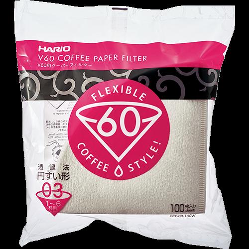 Hario V60 Kaffefiltre i hvid papir størrelse 03 100st