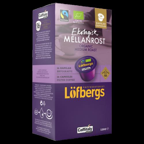 Löfbergs Lila Ekologisk Mellanrost brygg Caffitaly kaffekapsler 16st