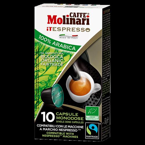 Molinari itespresso Bio 100% Arabica kaffekapsler til Nespresso 10st utgånget datum