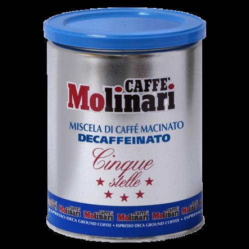 Molinari Cinque Stelle decaffeinato dåse formalet kaffe 250g