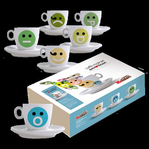 Molinari Emoticons cappuccinokopper (med underkopper) 6st