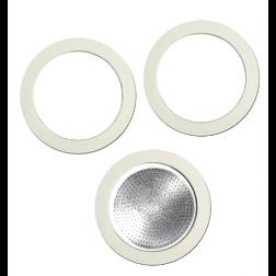 Bialetti filter och packningar för 3 koppars bryggare i aluminium