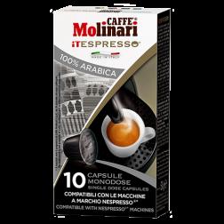 Molinari itespresso 100% arabica kaffekapsler til Nespresso 10st kort datum